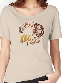 Lion tribal tattoo with Chinese character Women's Relaxed Fit T-Shirt