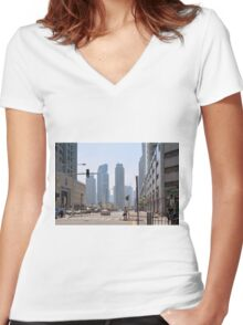 Photography of street with tall buildings from Dubai, United Arab Emirates. Women's Fitted V-Neck T-Shirt
