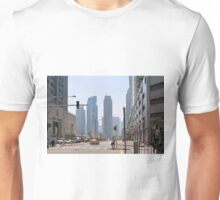 Photography of street with tall buildings from Dubai, United Arab Emirates. Unisex T-Shirt