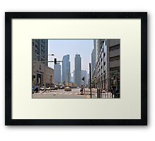 Photography of street with tall buildings from Dubai, United Arab Emirates. Framed Print