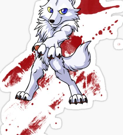 Cute anthro white wolf Sticker