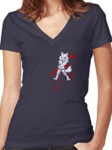 Cute anthro white wolf Women's Fitted V-Neck T-Shirt