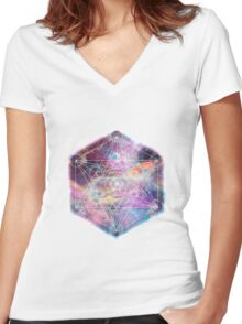 Watercolor and nebula sacred geometry  Women's Fitted V-Neck T-Shirt