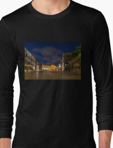 Car Light Trails on the Elegant Duomo Square in Ortygia, Syracuse Long Sleeve T-Shirt