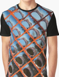 Frozen Patterns in Orange and Blue Graphic T-Shirt