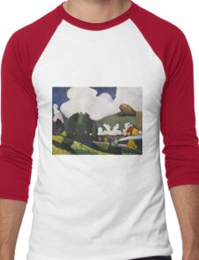 Kandinsky - Landscape Near Murnau With A Locomotive Men's Baseball ¾ T-Shirt