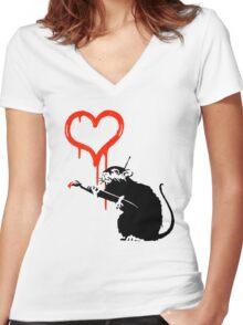 Banksy - Love Rat Women's Fitted V-Neck T-Shirt
