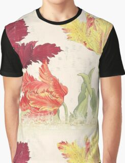Vintage floral print on shabby white - Bright Tulips Flower Graphic T-Shirt