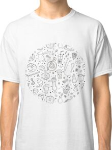 Coffee outline seamless pattern Classic T-Shirt