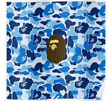 APE WITH BLUE CAMO Poster