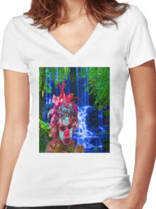 Nature Zombie Women's Fitted V-Neck T-Shirt