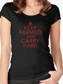 Keep Farmed and Carry Hard | Red Women's Fitted Scoop T-Shirt