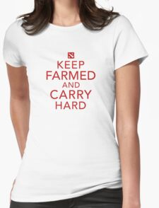 Keep Farmed and Carry Hard | Red Womens Fitted T-Shirt