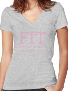 FIT & Fashion Institute of Technology - PINK Women's Fitted V-Neck T-Shirt