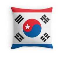North & South Korean flags mixed beautiful pattern art Throw Pillow