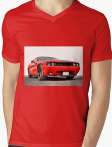 Red Dodge Challenger Mens V-Neck T-Shirt