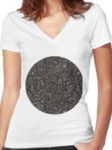 Coffee outline seamless pattern Women's Fitted V-Neck T-Shirt