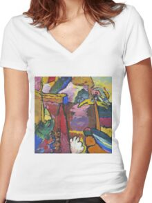 Kandinsky - Study For  Painting With White Border Women's Fitted V-Neck T-Shirt