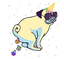 my pug is a unicorn and poops cupcakes Photographic Print