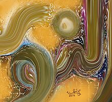 """An Noor""Allah Names Abstract Art Modern Painting by HAMID IQBAL KHAN"