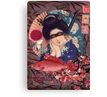 Collage Geisha Samurai in Coral, Indigo and Marsala Canvas Print