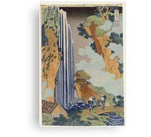 Vintage famous art - Hokusai Katsushika - Ono Waterfall, The Kiso Highway Canvas Print