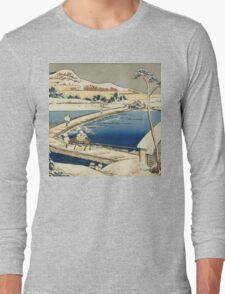Vintage famous art - Hokusai Katsushika - Pontoon Bridge At Sano, Kozuke Province, Ancient View Long Sleeve T-Shirt