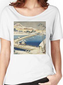 Vintage famous art - Hokusai Katsushika - Pontoon Bridge At Sano, Kozuke Province, Ancient View Women's Relaxed Fit T-Shirt