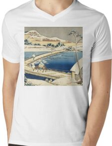 Vintage famous art - Hokusai Katsushika - Pontoon Bridge At Sano, Kozuke Province, Ancient View Mens V-Neck T-Shirt