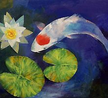 Tancho Koi and Water Lily by Michael Creese