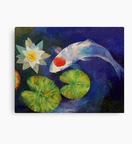 Tancho Koi and Water Lily Canvas Print