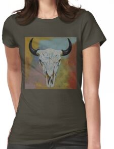 Bison Skull Womens Fitted T-Shirt