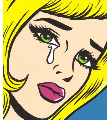 Blonde Crying Comic Girl Sticker