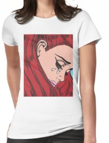 Red Head Crying Comic Girl Womens Fitted T-Shirt