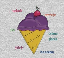Yummy icecream with cherry and text vector Kids Tee