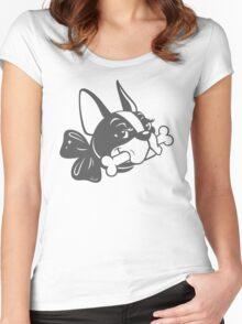 "French Bulldog ""Cherry"" B&W Women's Fitted Scoop T-Shirt"