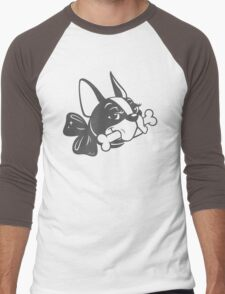 "French Bulldog ""Cherry"" B&W Men's Baseball ¾ T-Shirt"