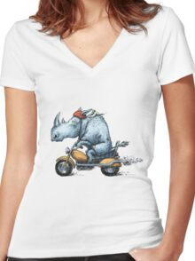 Motor-rhino Women's Fitted V-Neck T-Shirt