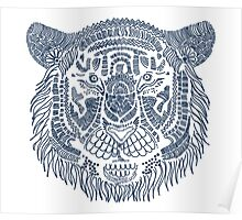 Navy Blue Tiger Hand Drawn  Digital Art Poster