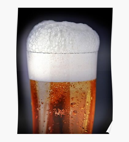 Full glass of cold beer Poster