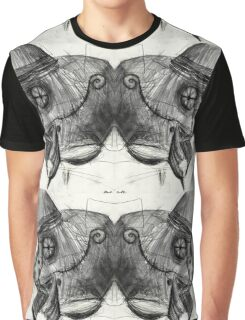 two headed cyborg undead sad Bird Brain Parrot machine drawing Graphic T-Shirt
