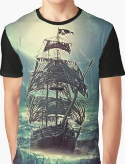 Ghost Pirate Ship at Night Graphic T-Shirt