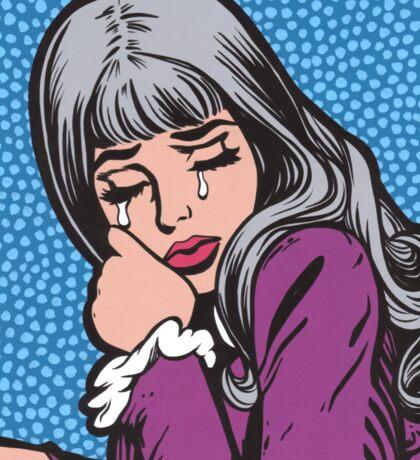 Silver Hair Crying Comic Girl Sticker