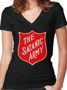 Satanic Army Salvo Shield Women's Fitted V-Neck T-Shirt