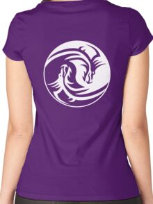 Yin Yang, Dragon, Doctormo, Dring, Drang, Eastern, WHITE on Deep Purple Women's Fitted Scoop T-Shirt