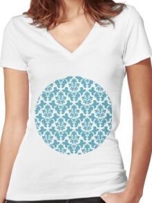 Vintage wallpaper pattern. Abstract floral ornament. Women's Fitted V-Neck T-Shirt