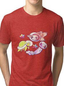 Space Sloth Turtle and Axolotl Tri-blend T-Shirt