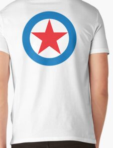 STAR, CIRCLE, SUPER STAR, Red Star, White Circle, Blue Outer Ring.  Mens V-Neck T-Shirt