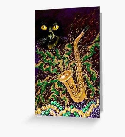 Boo Cat Mardi Gras Greeting Card