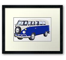 Volkswagen Van, VW Bus, Navy Blue, Camper, Split screen, 1966 Volkswagen, Kombi (North America) Framed Print
